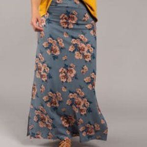 Side Slit Maxi Skirt Blossom Blues